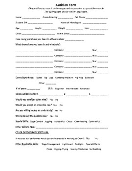 Theater Audition Forms Worksheets Teaching Resources Tpt
