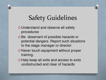 Theatre Safety Rules Ppt.