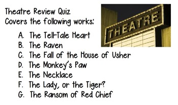 Theatre Short Story Review Quiz