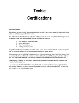 Technical Theatre: Theatre Technician Certifications