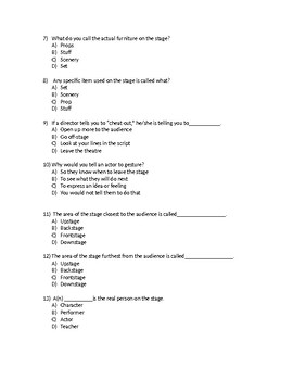 Theatre Terms and Stage Directions Quiz