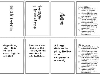 Theatre Vocabulary Memory- Dramatic Structure