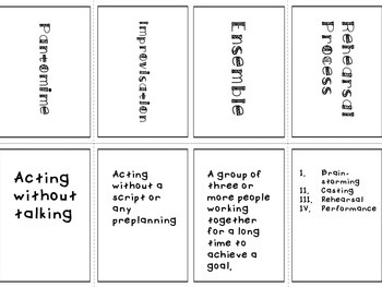 Theatre Vocabulary Memory Game- Acting and Vocal Vocabulary