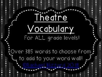 385 Theatre Vocabulary Words for your Word Wall