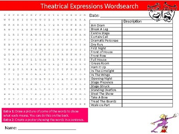 Theatrical Expressions Wordsearch Sheet Starter Activity Keywords English Drama