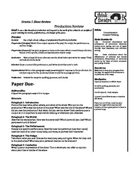 Theatrical Production Review Task and Rubric