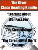 The Giver Close Reading Bundle 3 Excerpts for Annotation and Analysis