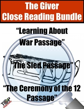 The Giver Close Reading Bundle 3 Excerpts for Annotation a