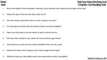Their Eyes Were Watching God: Ch. 1 & 2 Reading Comprehension Quiz