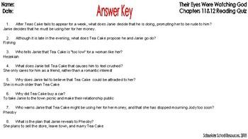 Their Eyes Were Watching God: Ch. 11 & 12 Reading Comprehension Quiz