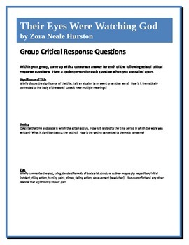 Their Eyes Were Watching God - Hurston - Group Critical Response Questions