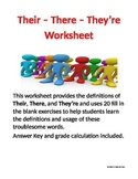 Their - There - They're Worksheet for Grades 6-9