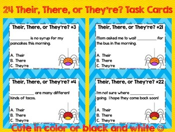 There, Their, and They're ~ Task Cards, Scoot Game, and Quick Assessment