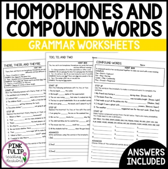Their, Too (Homophones) and Compounds Words - Grammar Worksheets with Answers
