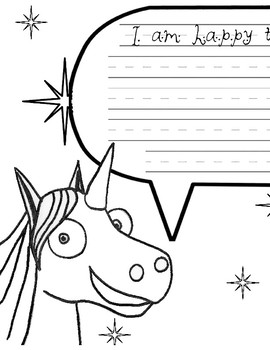 Thelma the Unicorn - Happy to be me because 8.5x11 print version