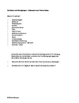 Thema Auto Arbeitsanweisungen und Worksheet