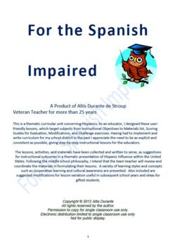 Thematic Curricular Unit on Hispanics: For The Spanish Impaired