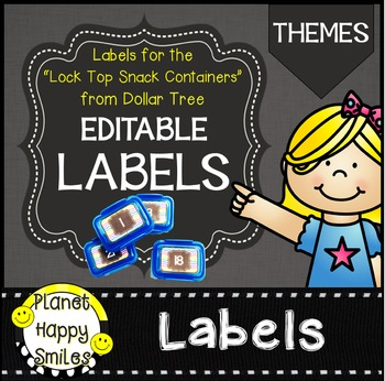 """Thematic Editable Labels ~ Labels for the """"Snack Container"""