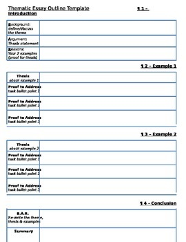 Thematic Essay Outline Template - Global or U.S. History