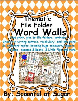 "Thematic File Folder ""On-the-Go"" Word Walls"