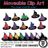 Thematic Moveable Clip Art Letters & Numbers - Witch Hats