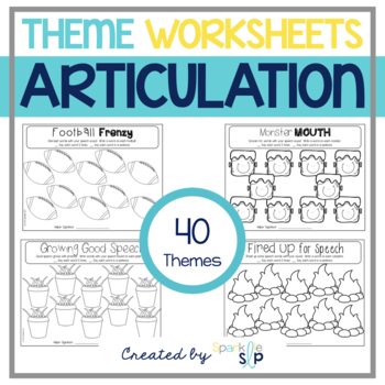 Open-Ended Articulation Thematic Worksheets for Home Practice by ...