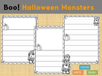 Thematic Paper Set - Boo! Halloween Monsters : Primary Lines