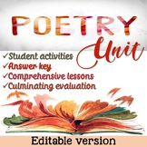 Thematic Poetry Unit - EDITABLE