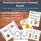 Thematic Preschool Decor Set-3 Classrooms (Bears, Bees, Monkeys)
