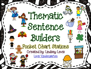 Thematic Sentence Builders Bundle  {Pocket Chart Stations}