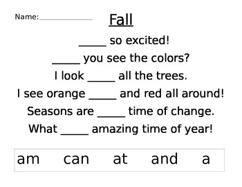 Sight Word Poems Seasonal/Holidays/Themes
