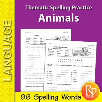 Thematic Spelling Practice: Animals