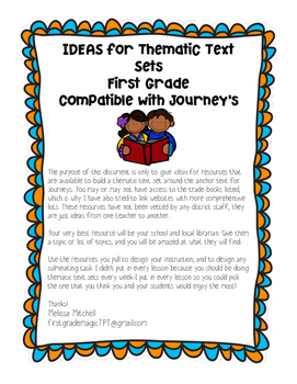 Thematic Text Set ideas to pair with 1st Grade Journeys Anchor Texts {Unit 1}