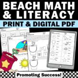 Beach Theme Activities Summer Packet Math & Literacy Digital Worksheets School