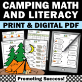 Camping Math & Literacy Activities Back to School Emergency Sub Plans
