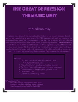 Thematic Unit- Great Depression and Dust Bowl