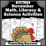 November Activities Packet, Thanksgiving Activities for Literacy Math & Science