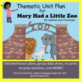 Thematic Unit Plan for Mary Had a Little Zoo