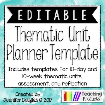Editable Thematic Unit Planning Template By Teaching Products Tpt