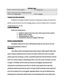 Thematic Unit Reading Summarizing Main Ideas Lesson