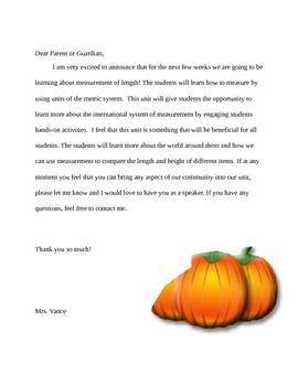 Thematic Unit parent letter. Pumpkin