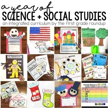 First Grade Units for Science and Social Studies: Year Long BUNDLE!