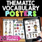 Thematic Vocabulary Posters - 20 Visual Posters of Vocabulary for Beginning ELLs