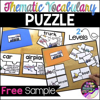 Thematic Vocabulary Puzzles Freebie Beginning ELL Activities or Center