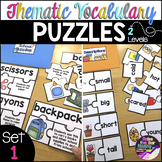 Thematic Vocabulary Puzzles: Set 1 - Beginning ELL Activit