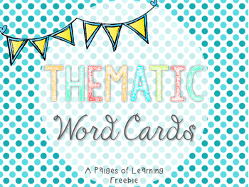 Thematic Word Cards Freebie