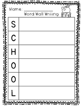 Thematic Word Wall Writing- All Year Long