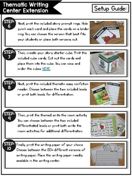 Thematic Writing Center EXTENSION RESOURCE Packet (K-2)