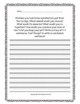 Thematic Writing Prompts and Planning Pages Ice Age