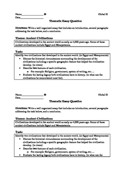 Thematic essay civilizations question and graphic organizer
